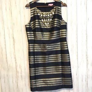 Lilly Pulitzer Navy Gold Silver Embellished Dress